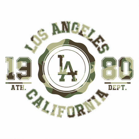 Camouflage typography for t-shirt print. Los Angeles, varsity, athletic t-shirt graphics. Vector