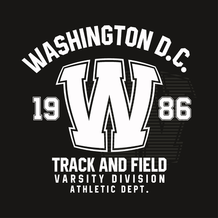 Washington typography for t-shirt print. Track and field, athletic t-shirt graphics. Vector