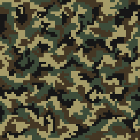 Camouflage pattern. Digital camouflage seamless pattern. Pixel camo in wooden style. Vector Illustration