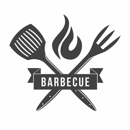 BBQ. Grill and barbecue restaurant logo, menu element, label or badge. Vector