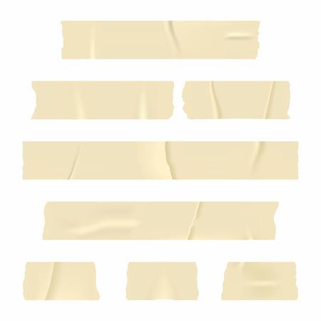 粘着テープ。白い背景で隔離の現実的な粘着テープ ストライプのセットです。ベクトル  イラスト・ベクター素材