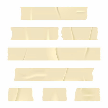 Adhesive tape. Set of realistic sticky tape stripes isolated on white background. Vector