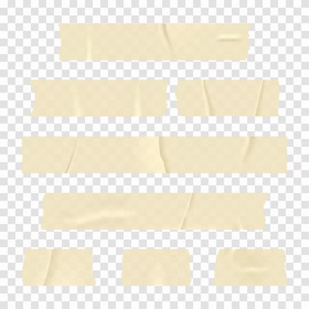 粘着テープ。透明な背景に分離された現実的な粘着テープ ストライプのセットです。ベクトル