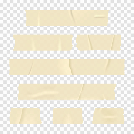 Adhesive tape. Set of realistic sticky tape stripes isolated on transparent background. Vector