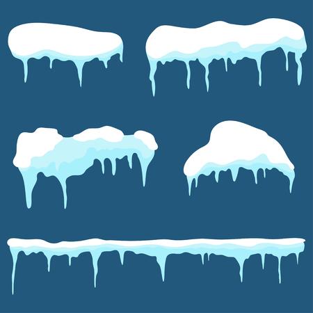 스노우 캡, 아이스 캡 세트. Snowdrifts 및 차가워 요 배경에 고립 된 요소를 디자인합니다. 벡터 일러스트