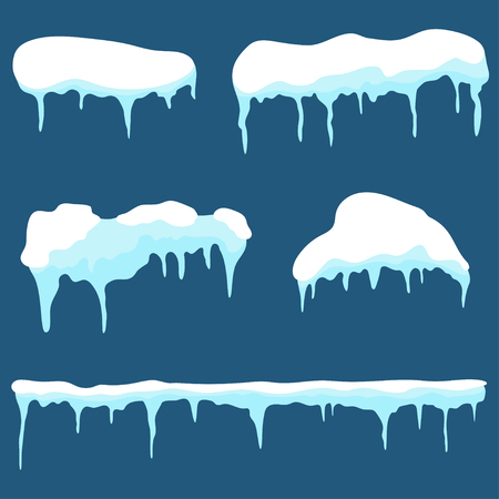 Snow cap, ice cap set. Snowdrifts and icicles design elements isolated on background. Vector