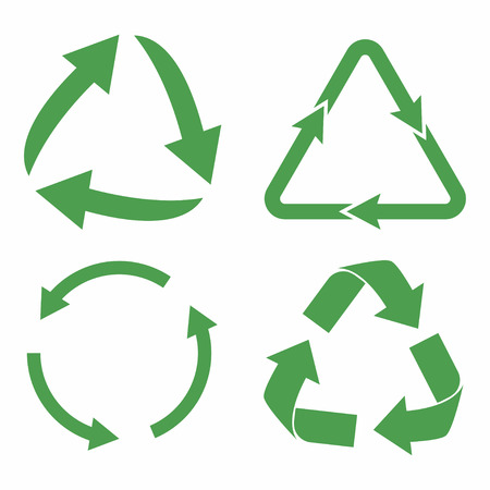Recycle icon set. Green eco cycle arrows. Recycle symbol in ecology. Vector