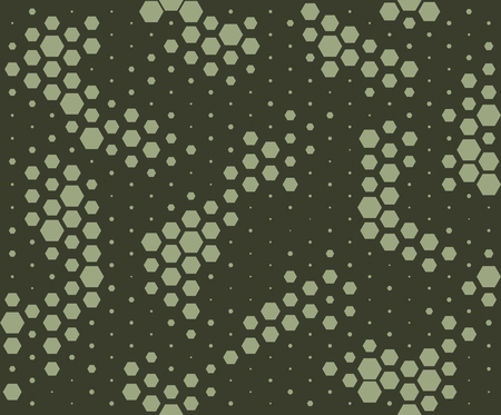 Camouflage pattern. Snake skin style, halftone seamless pattern. Green camo background. Vector