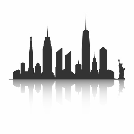 New York City skyline silhouette. Skyscrapers and Statue of Liberty. Vector.