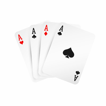 Four aces. Winning poker hand concept. Playing cards isolated on white background. Vector