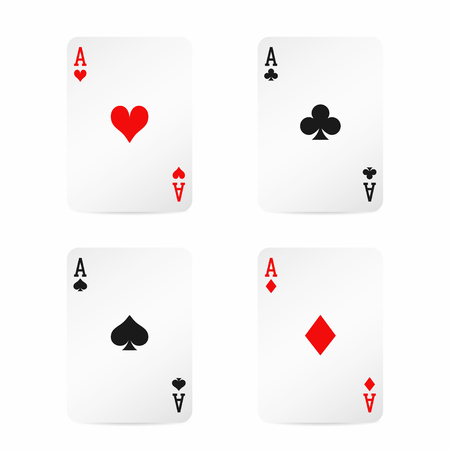 Four aces. Playing cards with shadow isolated on white background. Vector