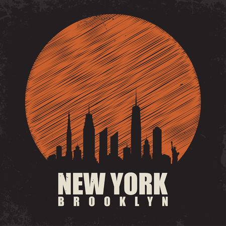 New York, Brooklyn typography for t shirt print. T shirt graphics with city skyline silhouette. Vintage tee print. Vector