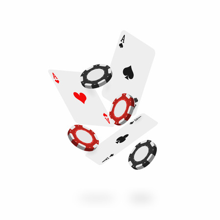 Falling cards and chips. Falling poker aces with realistic casino chips isolated on white background. Vector Illustration