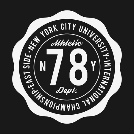 Vintage badge, athletic sport typography for t shirt print. Varsity style. T-shirt graphic. Vector Illustration