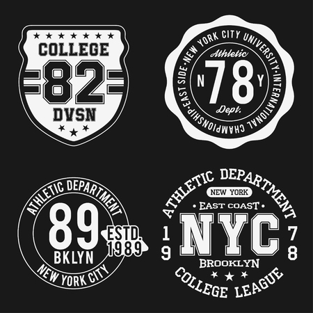 Vintage badges set, athletic sport typography for t shirt print. Varsity style. T-shirt graphic. Vector