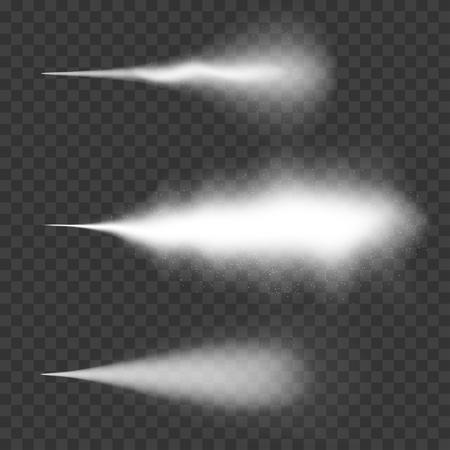 Waterspray, mist en rook effect. Wit spray effect met stof op transparant Stock Illustratie