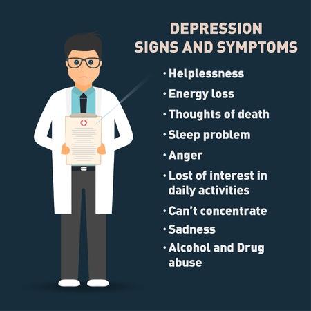 Depression signs and symptoms. Doctor with medical clipboard . Healthcare poster template. Vector