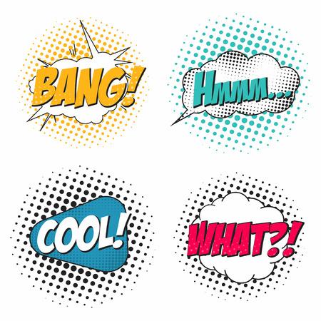 Conjunto de efectos de sonido de cómic, burbujas de discurso en estilo pop art. Que, bang, hmm, genial. Plantilla de fondo del cómic para el diálogo. Vector Logos