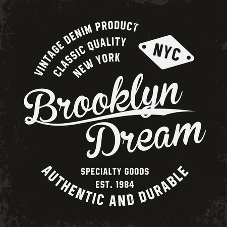 Vintage, Brooklyn typography for t-shirt print. Premium vintage t-shirt graphics. Retro badge. Vector