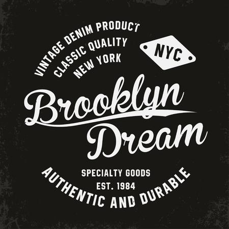 T シャツ プリントのヴィンテージ、ブルックリンのタイポグラフィ。プレミアム ヴィンテージ t シャツ グラフィック。レトロなバッジ。ベクトル