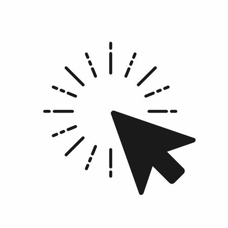 Klicken Sie auf das Symbol. Computermäusezeiger klicken mit Pfeil. Vektor