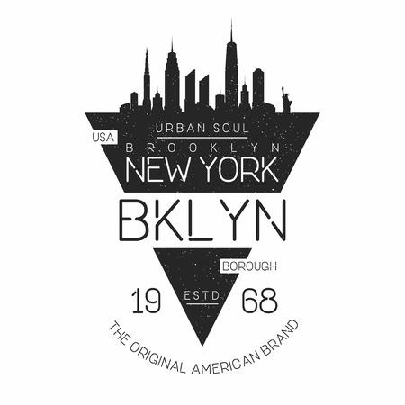 뉴욕, 브루클린 현대 인쇄술 - 티셔츠 인쇄. 뉴욕의 스카이 라인 실루엣. 티셔츠 그래픽. 벡터