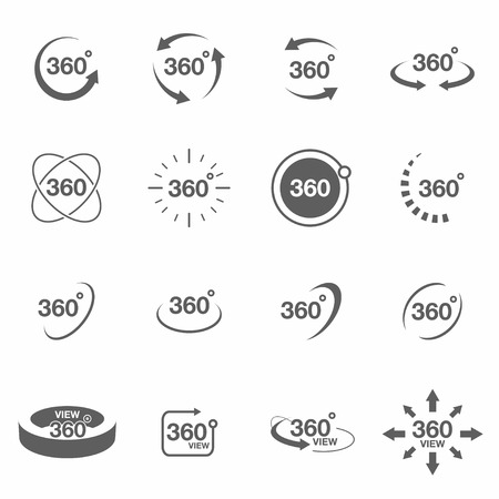360 degree view related icon set. Signs and arrows for indicate the rotation and panorama. Vector
