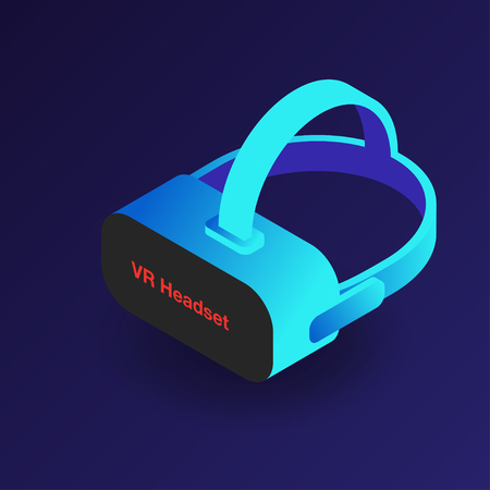 electronic background: VR headset. Isometric 3d virtual reality glasses. Modern digital cyberspace technology. Vector Illustration