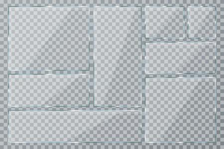 Glasplatte eingestellt auf transparenten Hintergrund. Klarglasvitrine. Realistische Fenster-Modell-Sammlung. Vektor