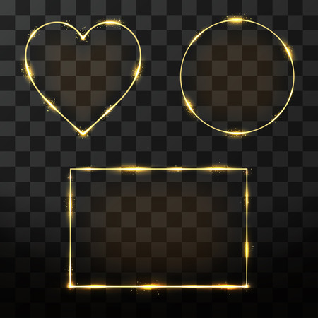 rectangle: Vector golden frame set with glow effect. Neon rectangle, circle and heart frame with glitter effect