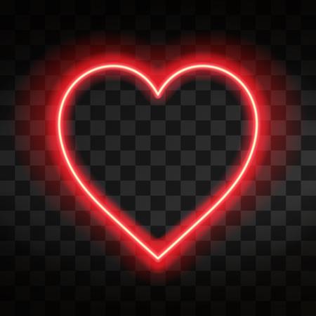 Bright neon heart. Heart sign on dark transparent background. Neon glow effect. Vector Stock Illustratie
