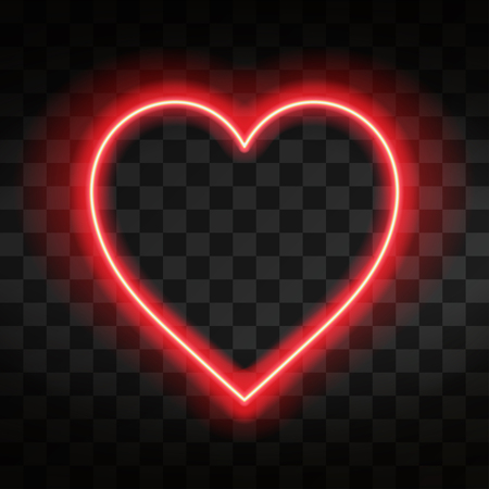 Bright neon heart. Heart sign on dark transparent background. Neon glow effect. Vector Illustration
