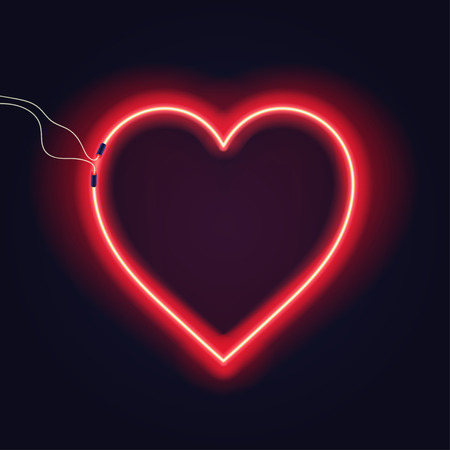 Neon heart sign with wires on dark background. Bright neon glow effect. Vector