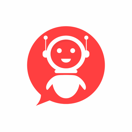 Chat bot icon in speech bubble shape background. Virtual assistant for website. Chat bot concept for customer sevice. Vector Çizim