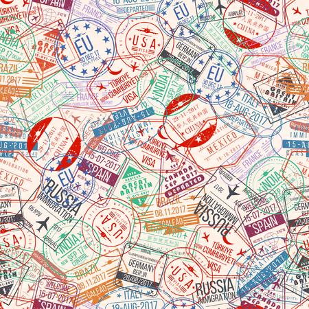 Pasaporte sello de patrones sin fisuras. Las llegadas internacionales firman el caucho, visan los sellos del aeropuerto y las filigranas. Foto de archivo - 86751345