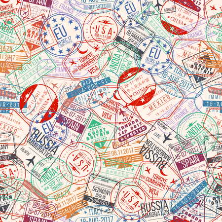 Passport stamp seamless pattern. International arrivals sign rubber, visa airport stamps and watermarks. Vector Illustration