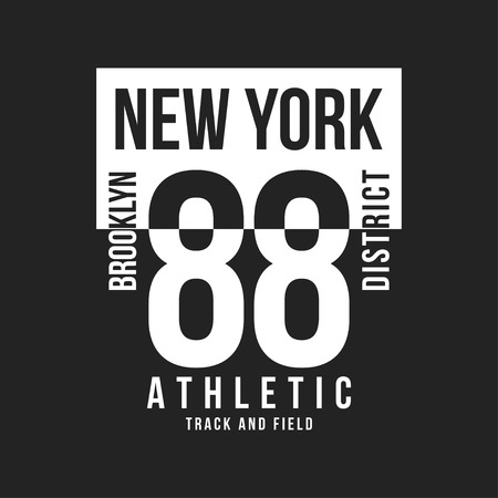New York, Brooklyn typography for t-shirt print. Sports, athletic t-shirt graphics. Vector