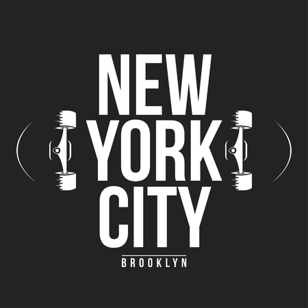 New York, skateboarding typography for t-shirt print. Athletic patch for tee graphic. T-shirt design. Vector