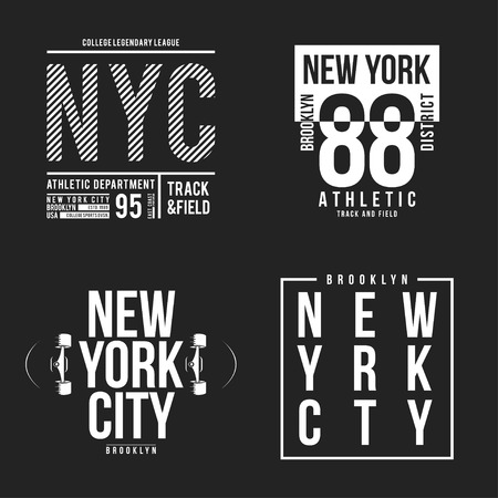 New York, Brooklyn typography for t-shirt print. Athletic patches collection for tee graphic. T-shirt design. Vector