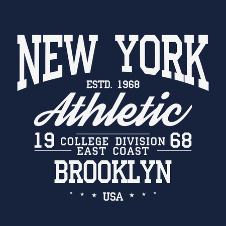 New York, Brooklyn typography, badge for t-shirt print. Varsity style t-shirt graphics. Vector