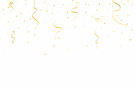 Festive background with golden ribbons and confetti. Falling confetti and ribbons isolated on white background. Vector Ilustrace