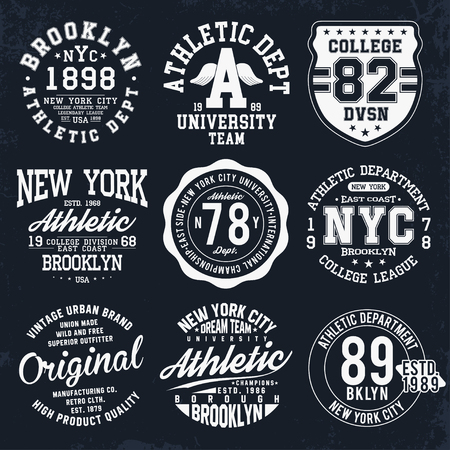 New York, Brooklyn typography, badges set for t-shirt print. Varsity style t-shirt graphics. Vector Ilustração