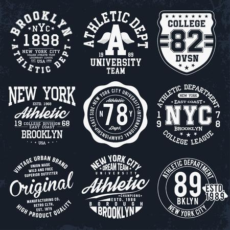 Tipografía de Nueva York, Brooklyn, insignias para la impresión de camisetas. Gráficos de camiseta de estilo universitario. Vector