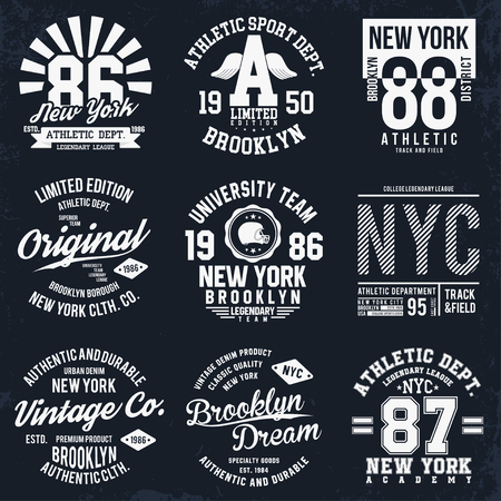 New York, Brooklyn typography, badges set for t-shirt print. Sports, athletic t-shirt patches. T-shirt graphics. Vector