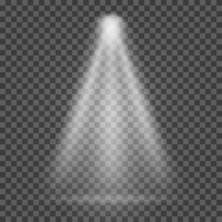 Lichtstraal op transparante achtergrond. Heldere schijnwerperlichtstraal voor zoeklicht, scèneverlichting. Vector