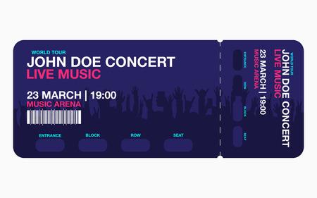 Plantilla de ticket de concierto. Plantilla de diseño de boleto de concierto, fiesta o festival con multitud de personas en el fondo. Vector