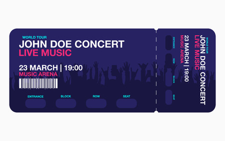 Concert ticket template. Concert, party or festival ticket design template with people crowd on background. Vector