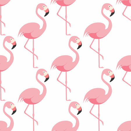 Flamingo seamless pattern. Pink flamingo standing on one leg. Tropical pattern. Vector
