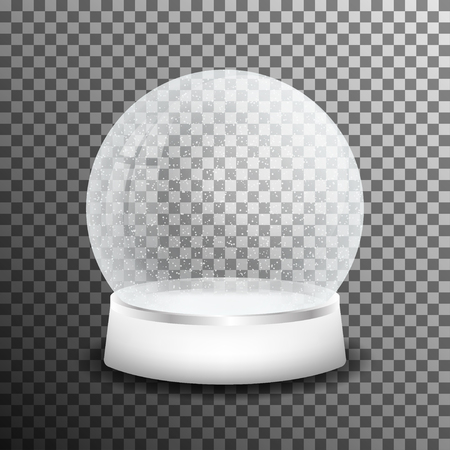 Christmas glass snow ball isolated on transparent background. Illustration