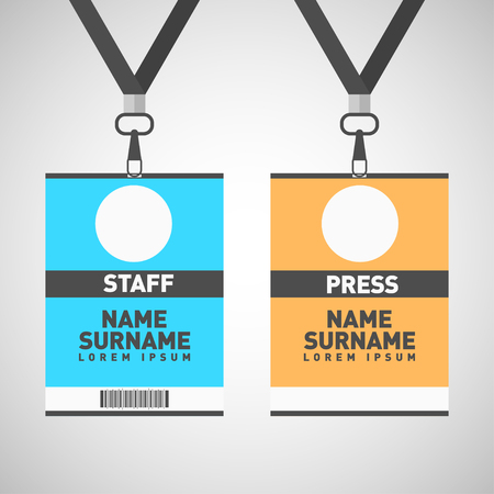 Event staff and press id cards set with lanyards. Vector